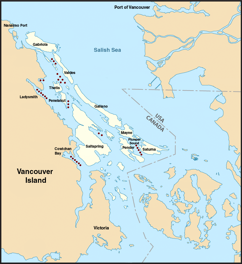 Map of Southern Gulf Island Anchorages