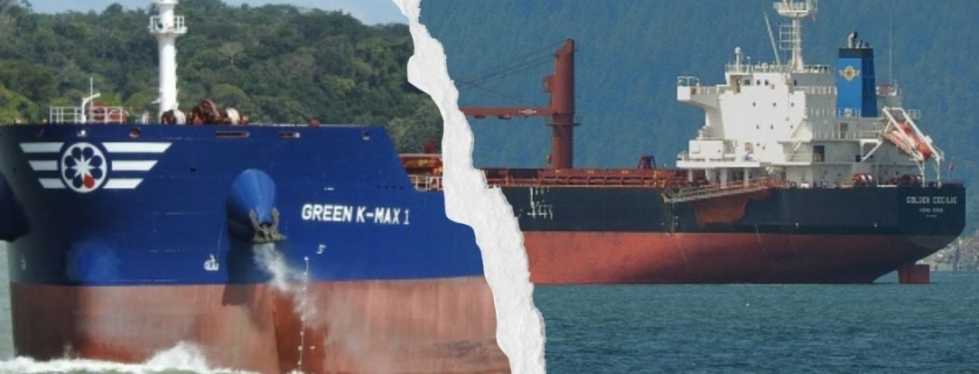 Two freighters that collided